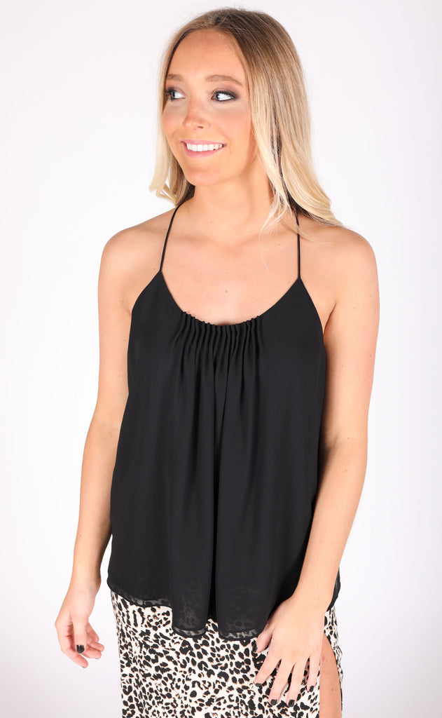 pleats and thank you tank top - black
