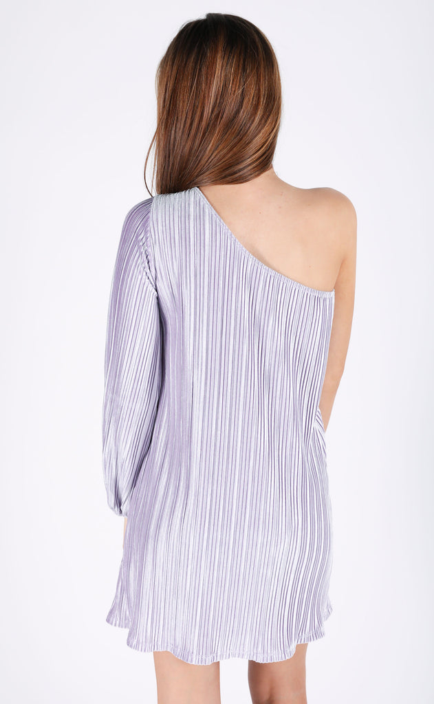 pleats to meet you one shoulder dress
