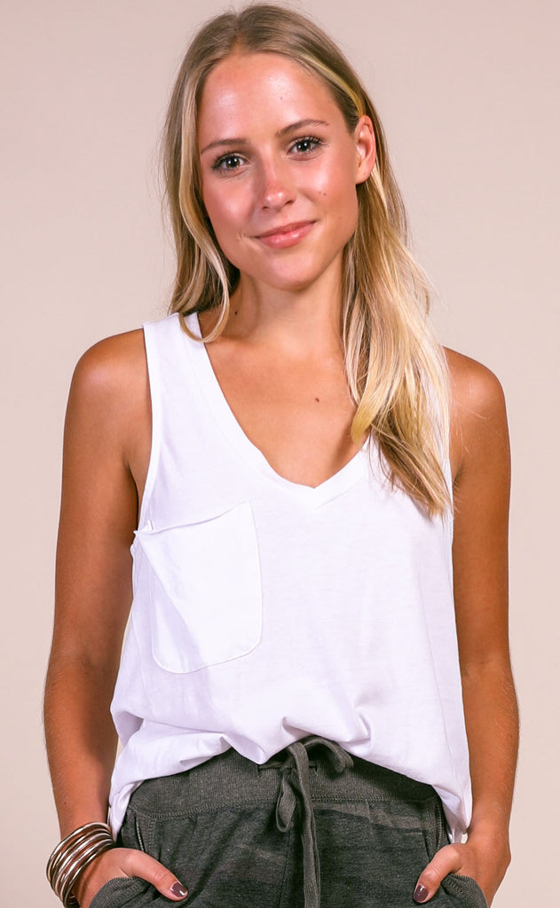 z supply: the pocket racer tank - white