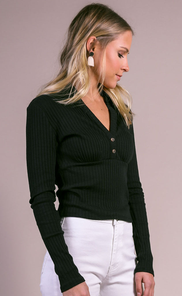 polo lounge ribbed top - black