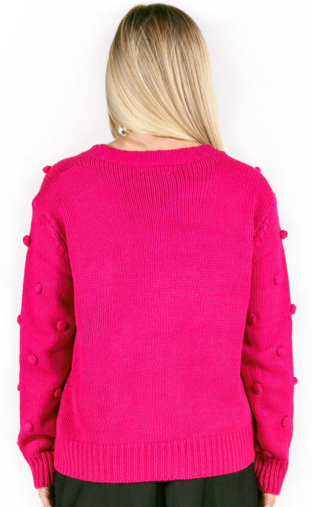 pom dot com knit sweater - magenta