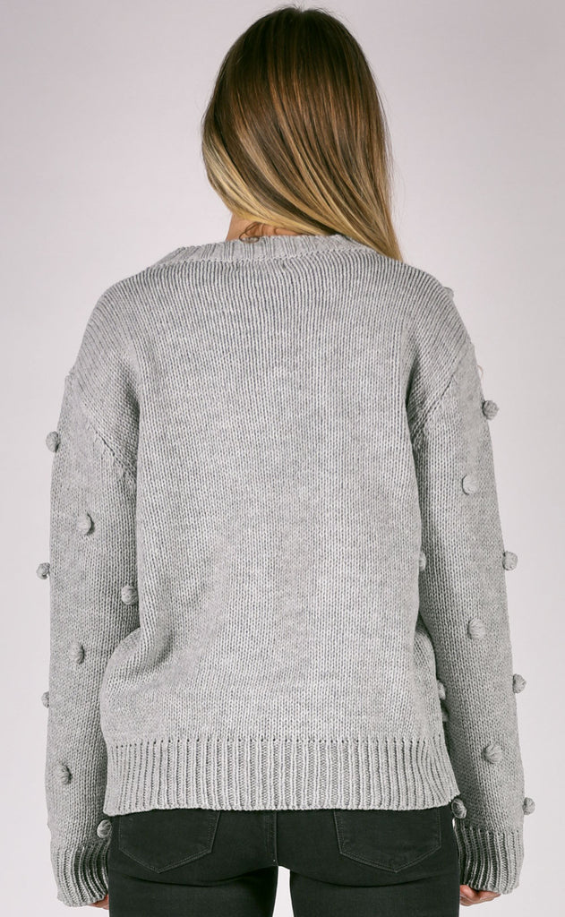 pom dot com knit sweater - grey