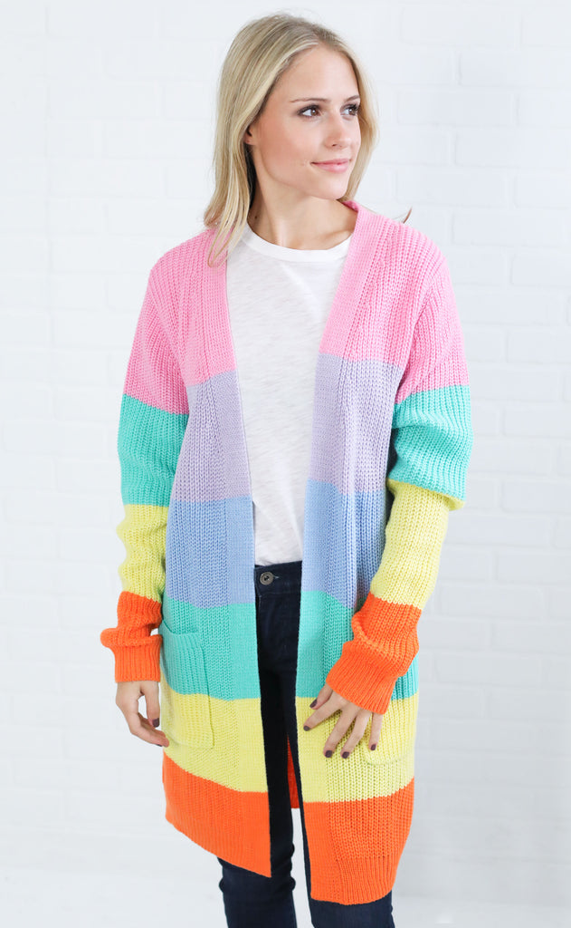 pop of color striped cardigan