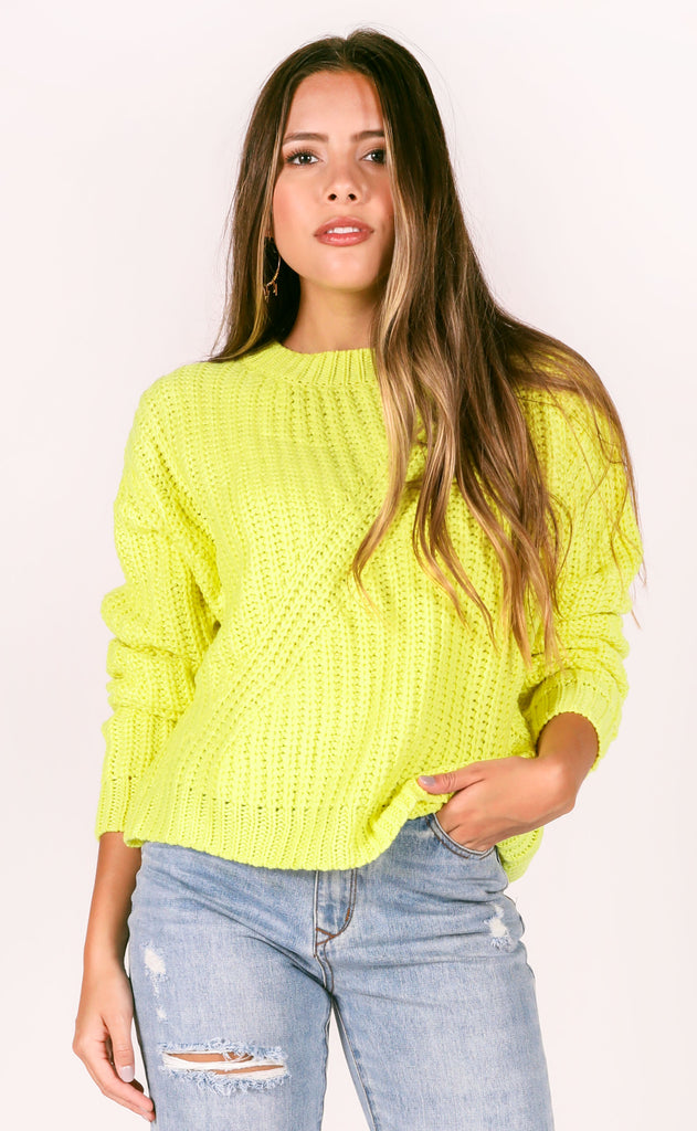 pop of color knit sweater - lime