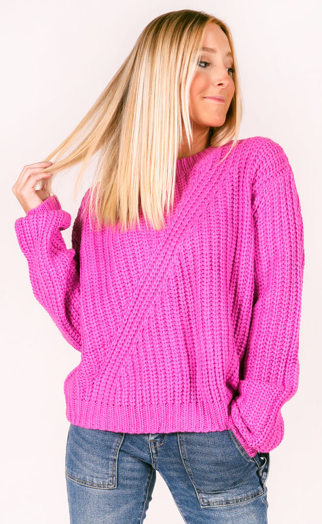 pop of color knit sweater - magenta