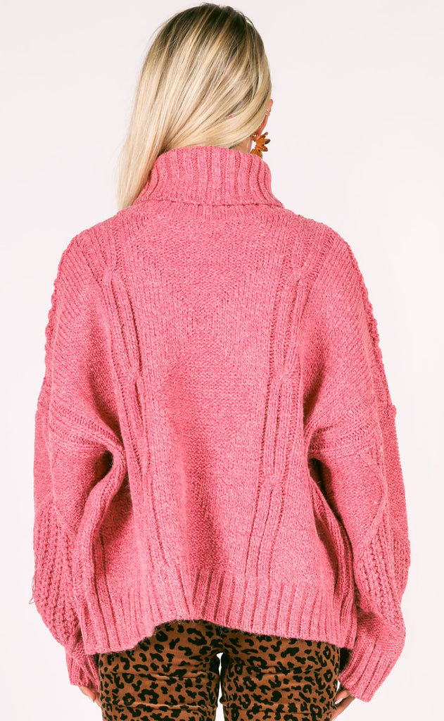pop of pink knit sweater