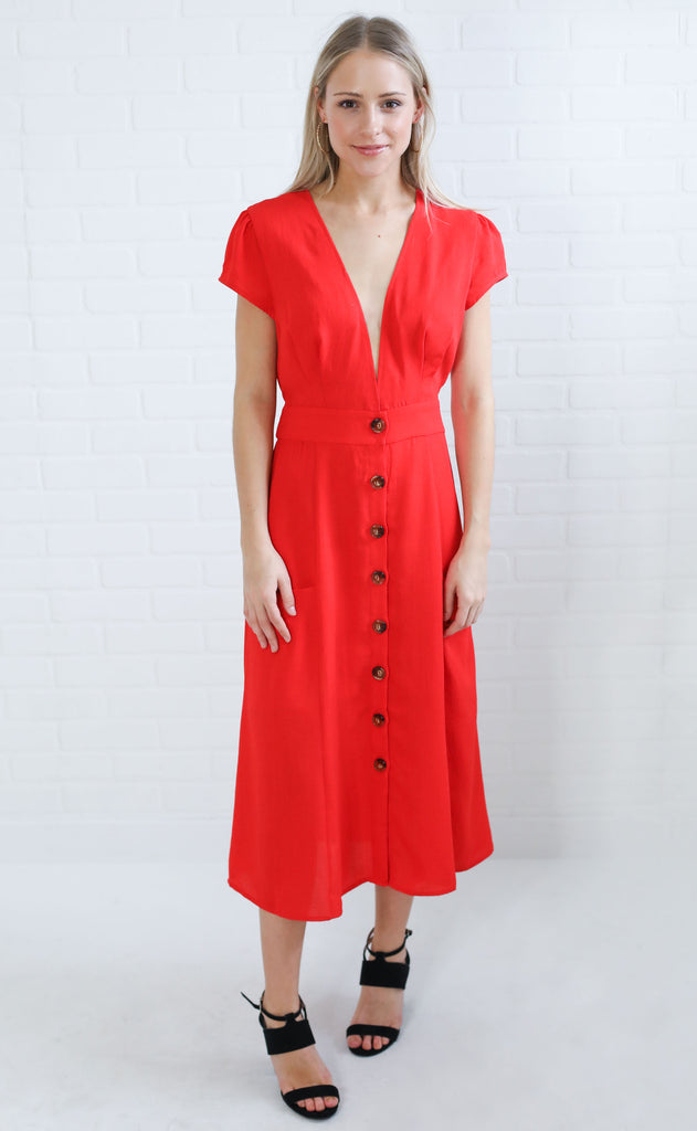 poppy button up dress
