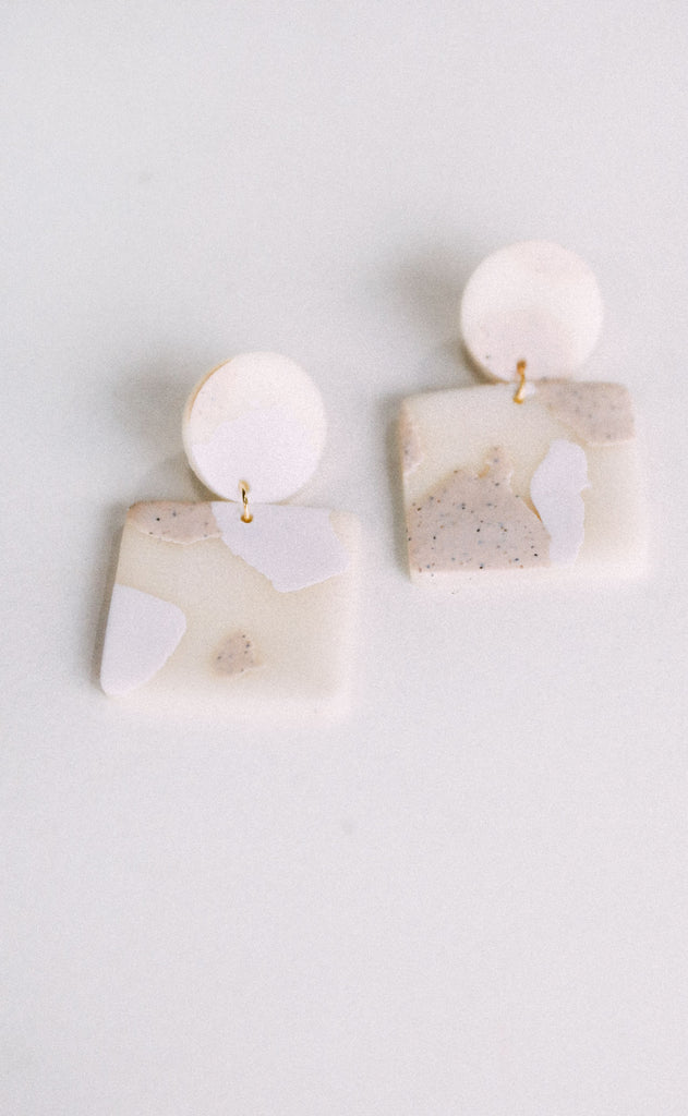 poppy dot: the lauren earring - marbled cream