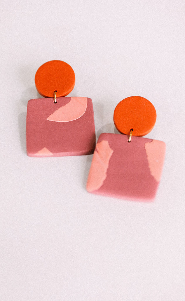 poppy dot: the lauren earring - marbled rust
