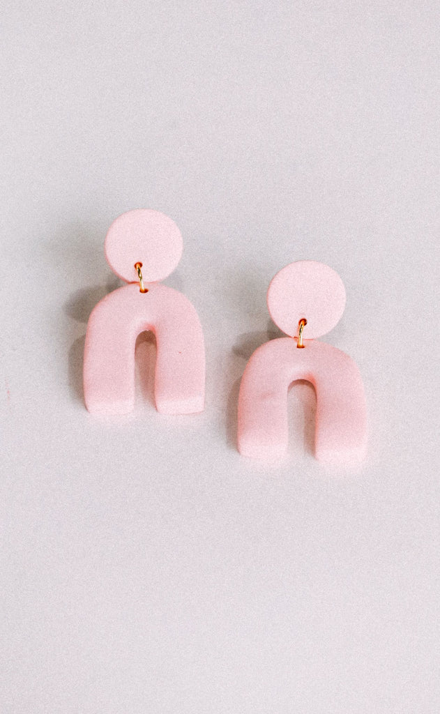 poppy dot: the mini kimberly earring - pale pink
