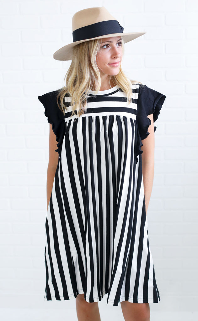 positively perfect striped dress - black