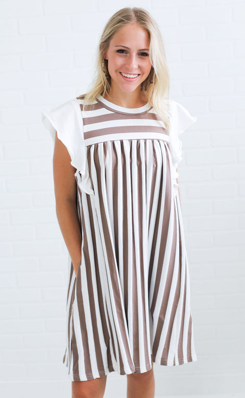 positively perfect striped dress - mocha