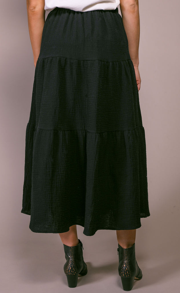 prairie linen skirt - black