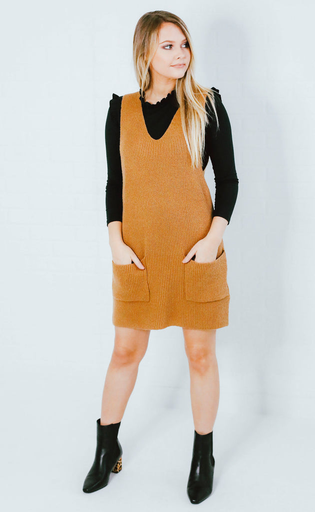 prep school sweater dress - camel