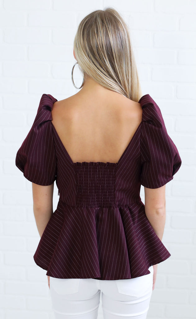 pretty in pinstripes ruffle top