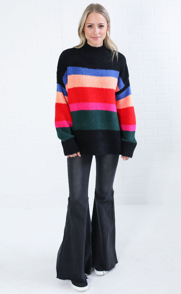 prismatic striped sweater