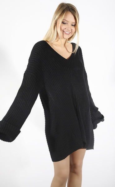 pursuit of happiness oversized sweater - black