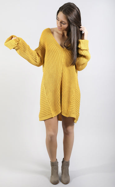 pursuit of happiness oversized sweater - mustard