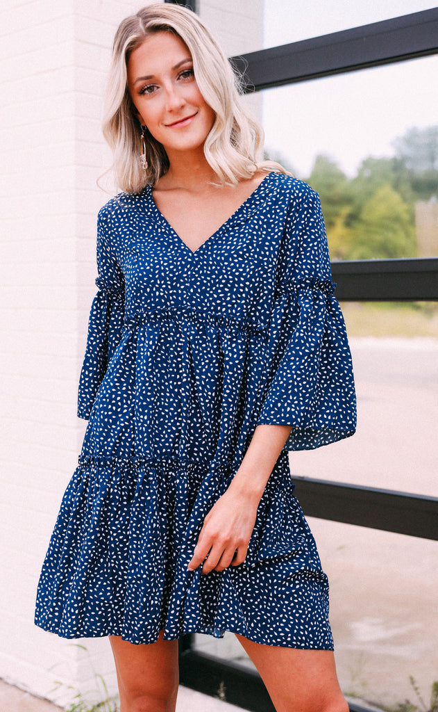 put it in print mini dress - navy