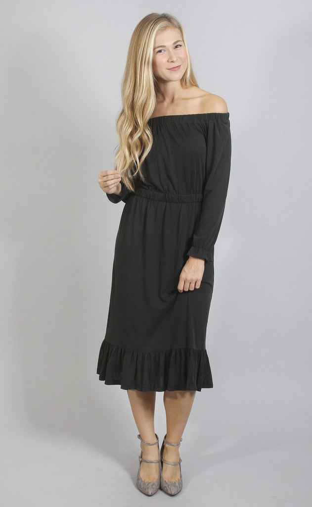 quite spectacular off shoulder midi dress