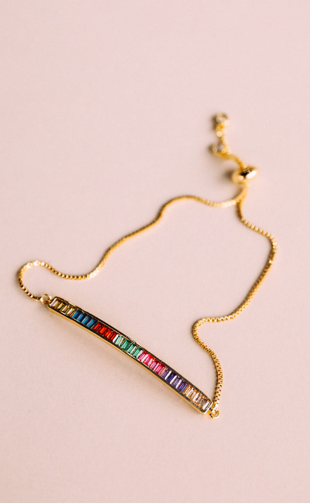 layering bracelet - rainbow bar