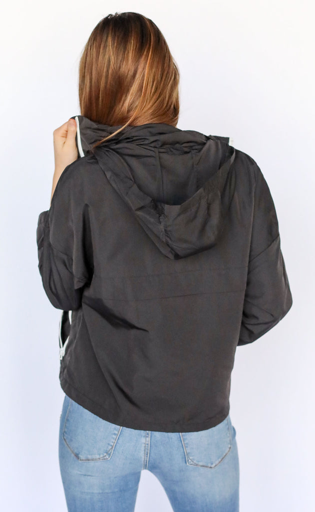 rainy day zip up jacket - black
