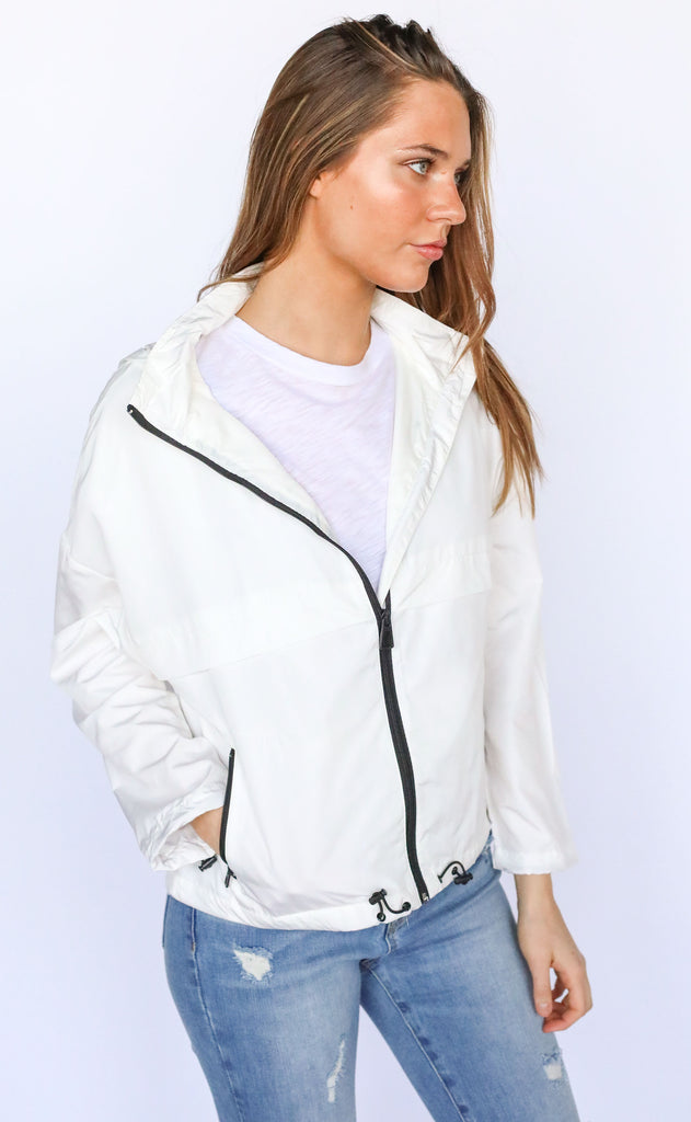 rainy day zip up jacket - ivory