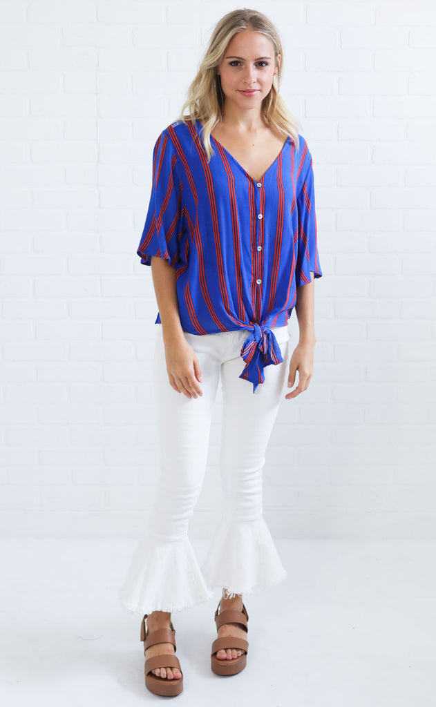 ready to go striped top - blue