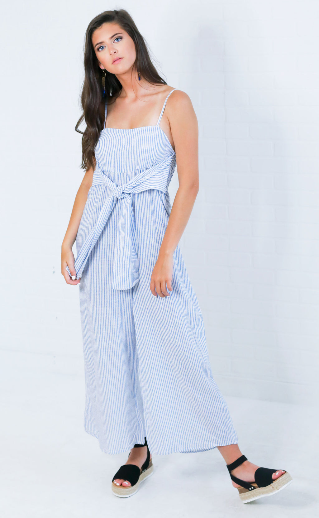 ready to bow striped jumpsuit