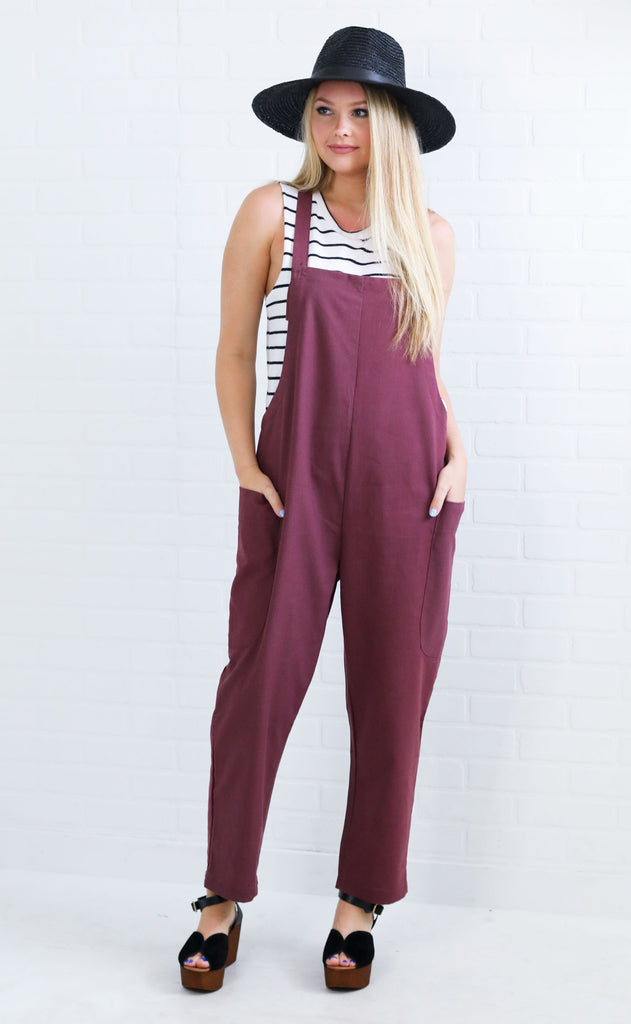 ready to go overall jumpsuit - berry