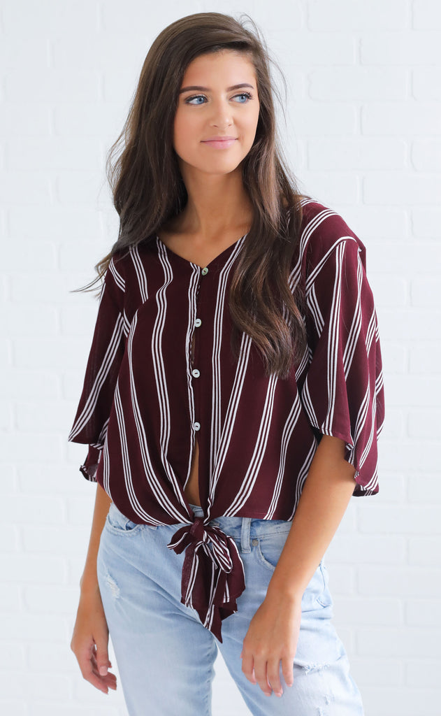ready to go striped top - maroon