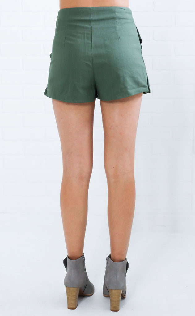 ready to ruffle skort - olive