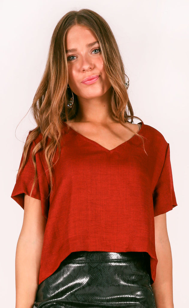 real deal basic top - burgundy