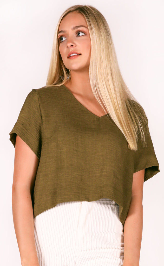 real deal basic top - olive