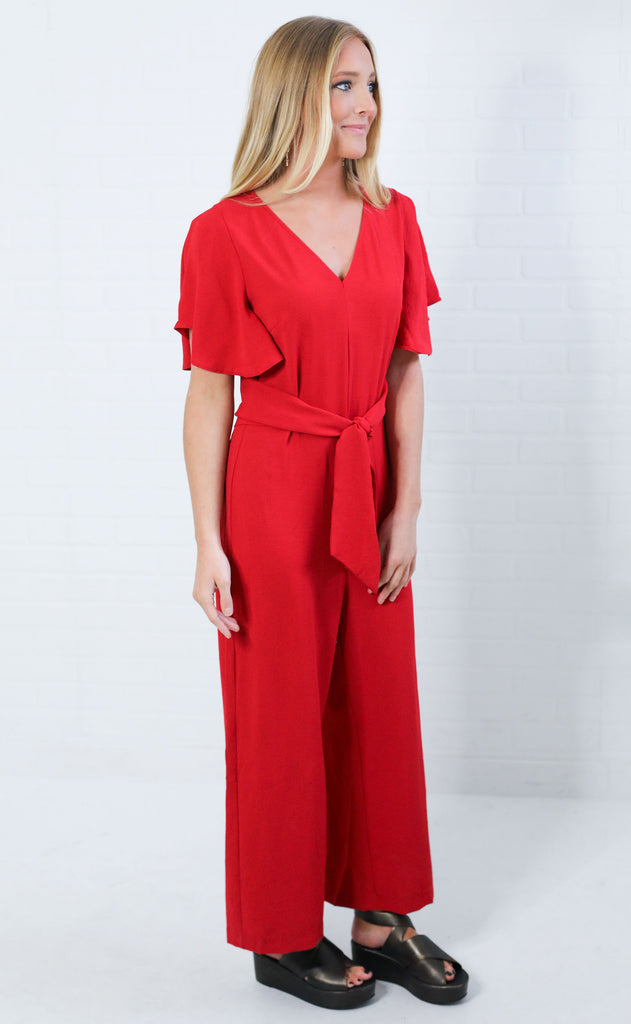 red hot solid jumpsuit
