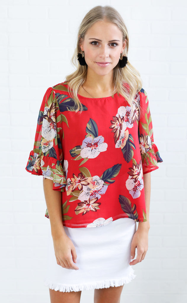 relaxed to the max floral top