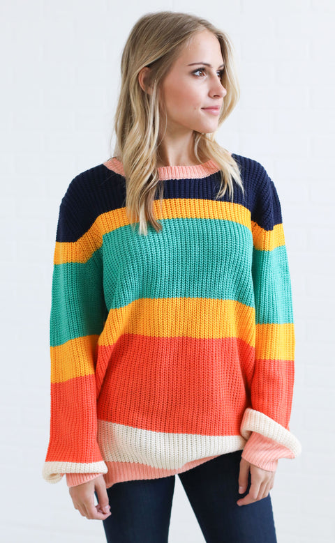 retro stripe knit sweater