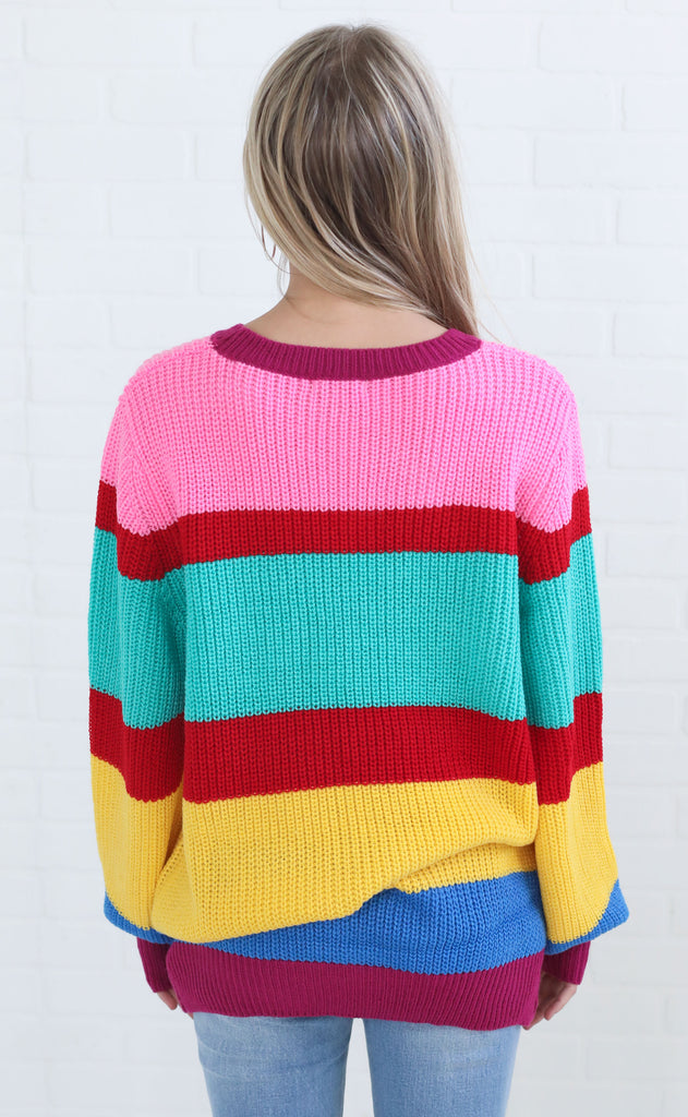 retro stripe knit sweater - bright multi