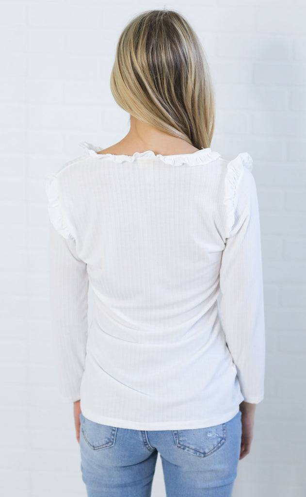ribbed and ruffled basic top - ivory