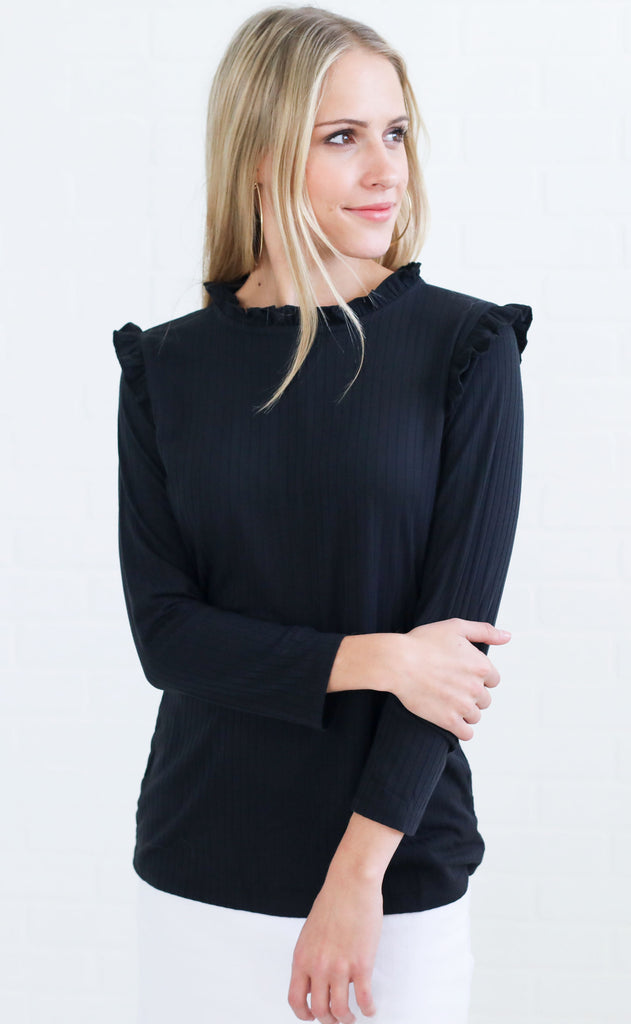 ribbed and ruffled basic top - black