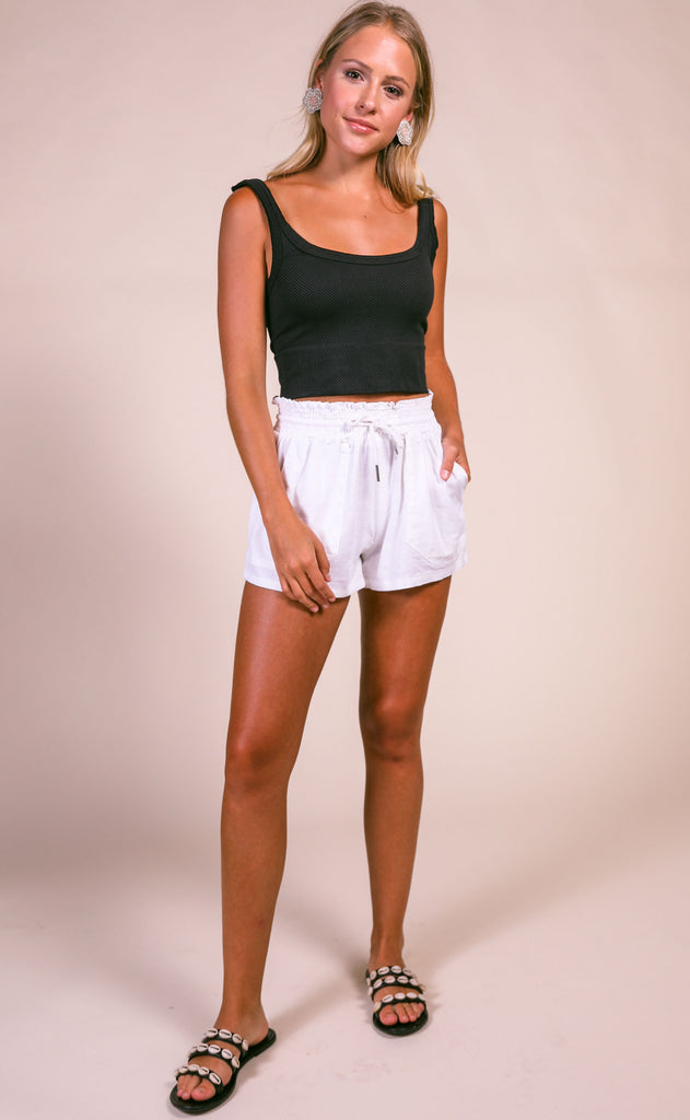 sea breeze drawstring shorts - white