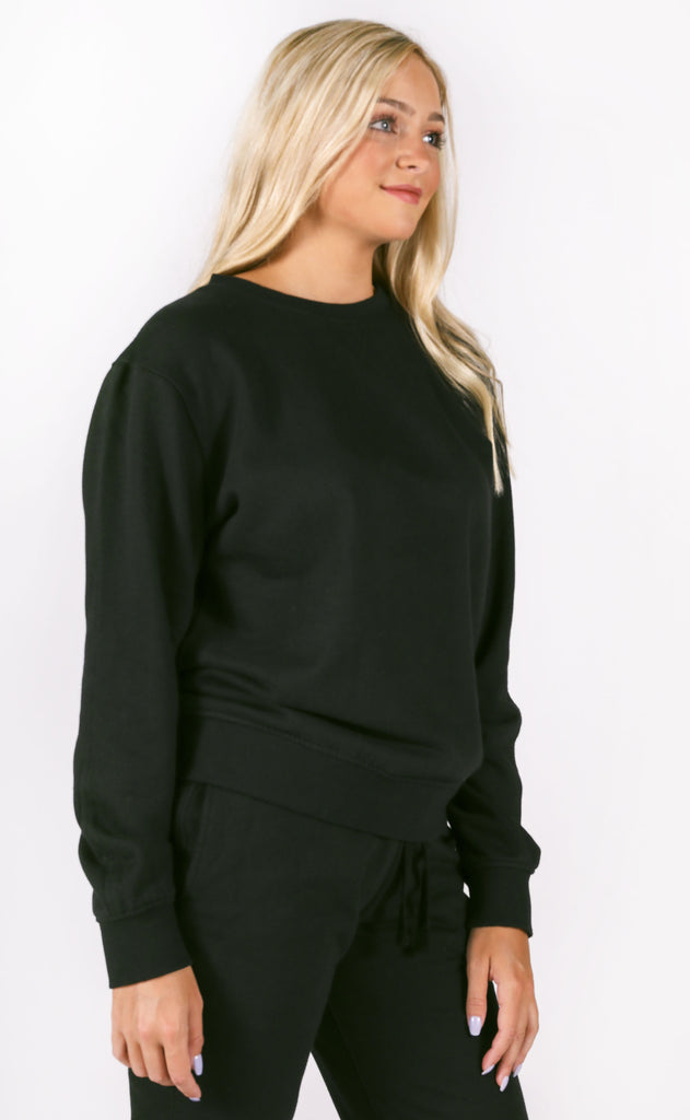 richer poorer: crew sweatshirt - black