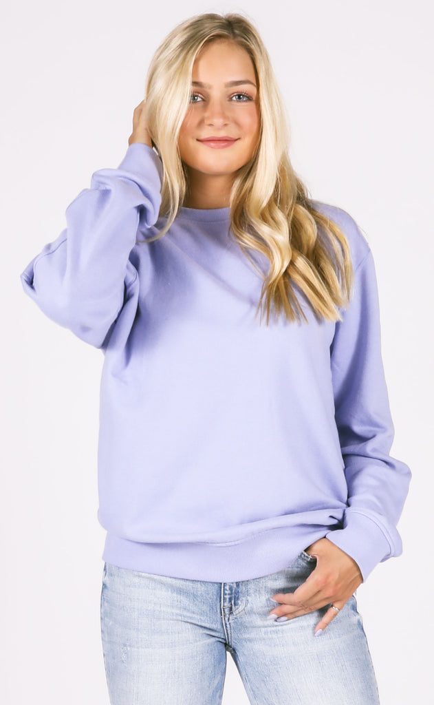 richer poorer: crew sweatshirt - electric violet