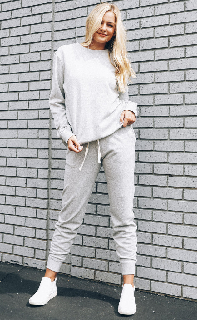 richer poorer: crew sweatshirt - grey