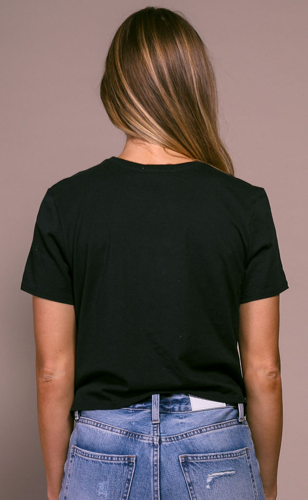 richer poorer: boxy crop tee - black