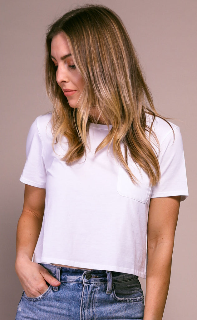richer poorer: boxy crop tee - ivory
