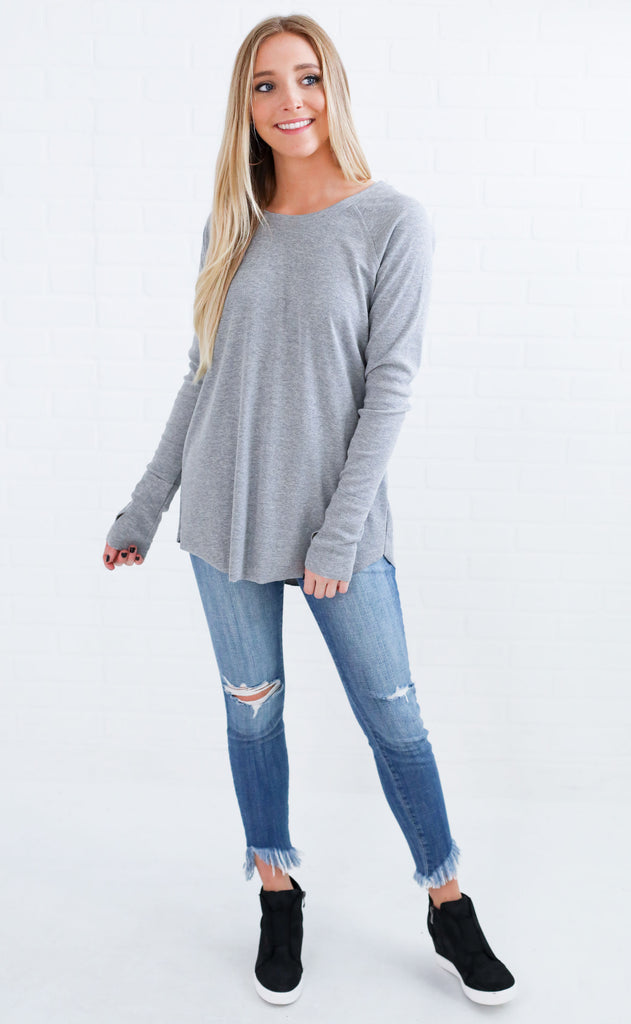 ride or die knit top - grey