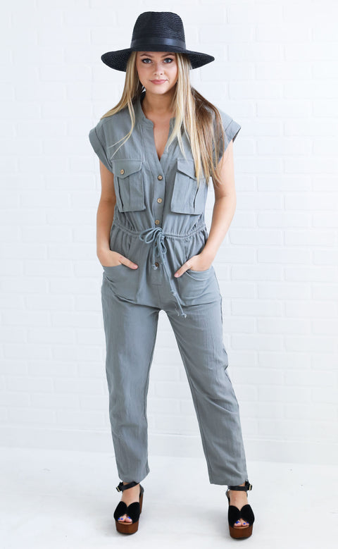 right angle button up jumpsuit