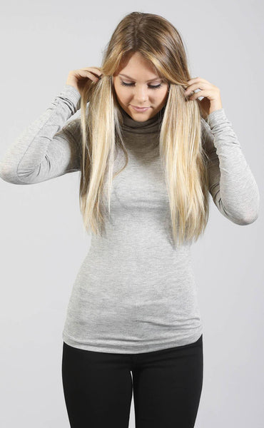 rise up turtleneck top - grey