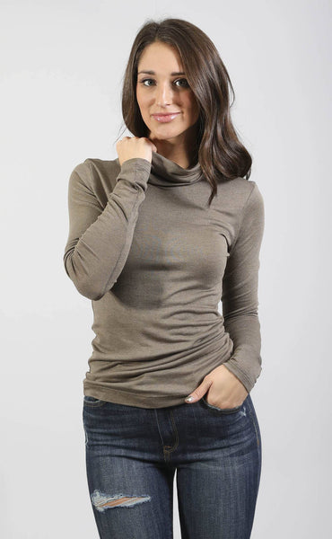 rise up turtleneck top - mocha